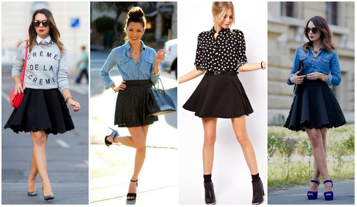 Что одеть с пышной черной юбкой