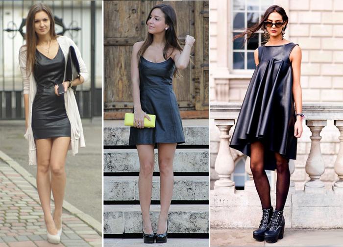 черное кожаное платье, фото