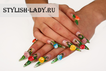 Красивый дизайн нарощенных ногтей