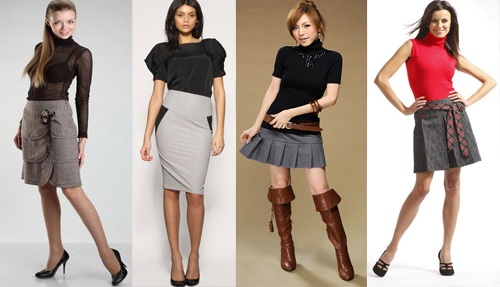 С чем одеть серую юбку? Что одеть с серой юбкой?