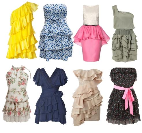 платья с воланами. фото