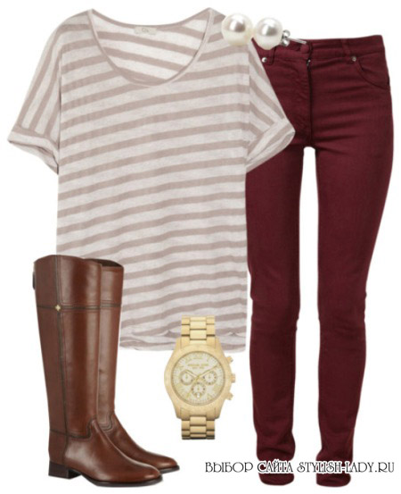 С чем носить бордовые джинсы?