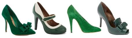 С чем носить зеленые туфли, фото