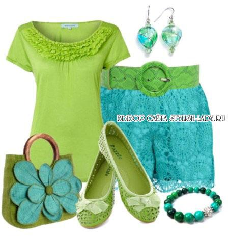 С чем носить зеленую обувь, фото