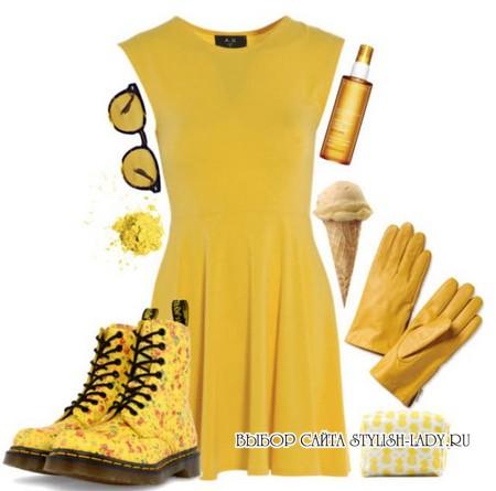 С чем носить желтые ботинки, фото