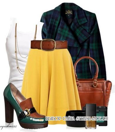С чем носить желтую юбку, зеленый + желтый, фото