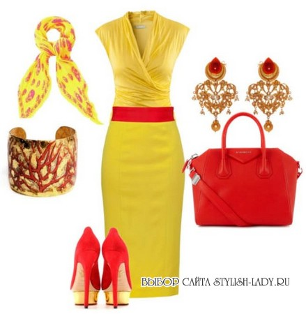 С чем носить желтое платье, фото