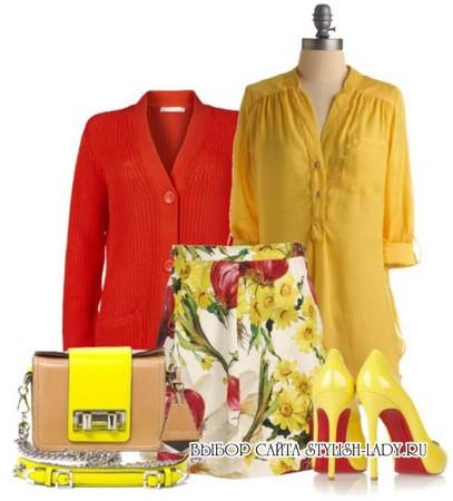 С чем носить желтую блузку, красный + желтый, фото