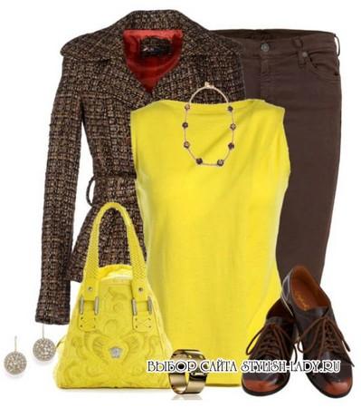 С чем носить желтую блузку, коричневый + желтый, фото