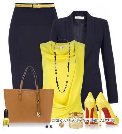 С чем носить желтую блузку, синий + желтый, фото