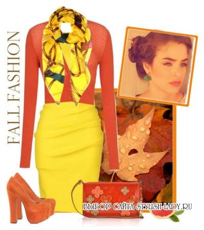 С чем носить желтую юбку, оранжевый + желтый, фото