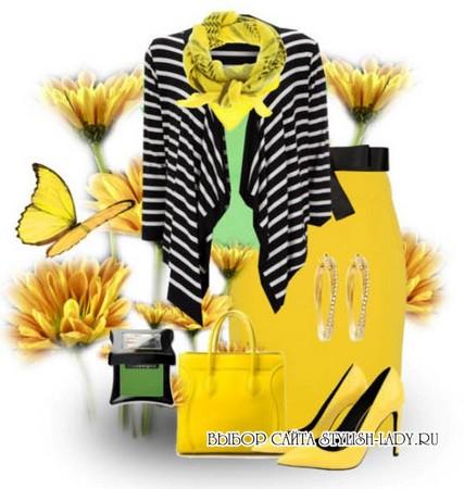 С чем носить желтую юбку, черный + желтый, фото
