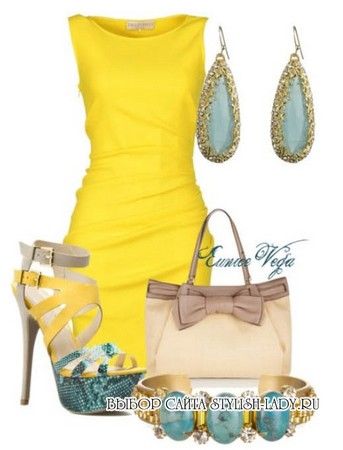 С чем носить желтое платье, голубой + желтый, фото