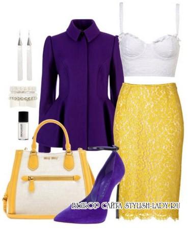 С чем носить желтую юбку, фиолетовый + желтый, фото