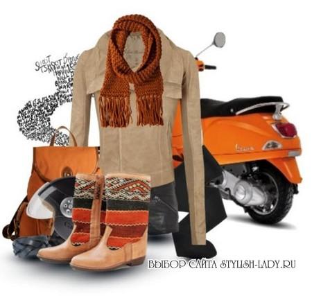 С чем носить оранжевыый шарф, фото