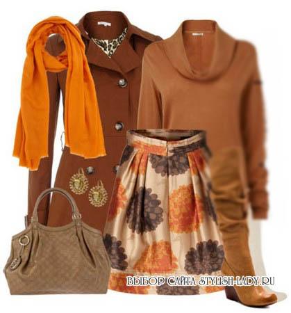 С чем носить оранжевый шарф, фото