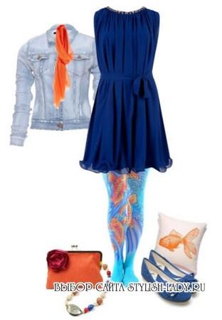 С чем носить оранжевыый шарф и сумку, фото