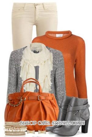С чем носить оранжевую сумку, фото