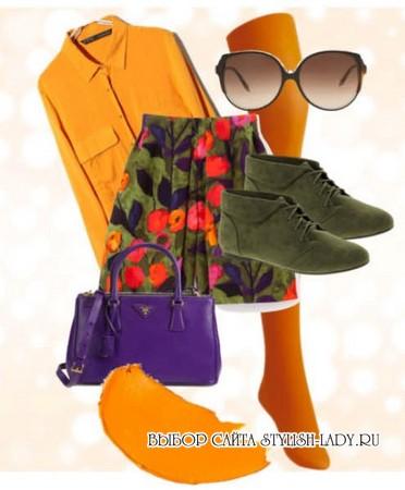 С чем носить оранжевые колготки, фото
