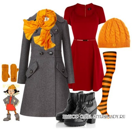 С чем носить оранжевые колготки, шарф, шапку, фото