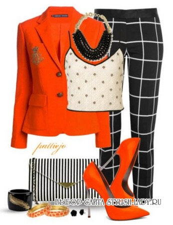 С чем носить оранжевый жакет, фото