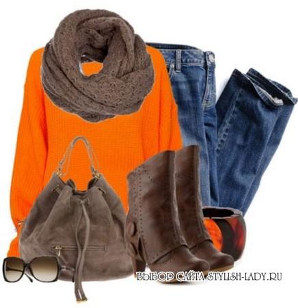 С чем носить оранжевый свитер, фото