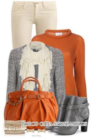 С чем носить оранжевую кофту, фото