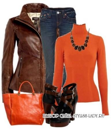 С чем носить оранжевую водолазку, фото