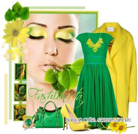 C чем носить зеленое платье, фото