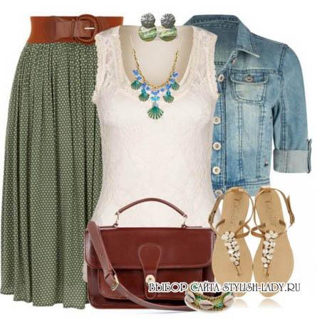 C чем носить зеленую юбку, фото