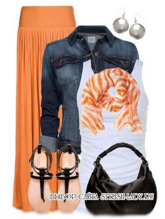 С чем носить плиссированную оранжевую юбку, фото