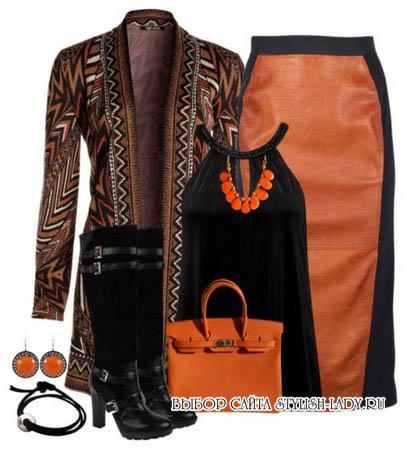 С чем носить кожаную оранжевую юбку, фото