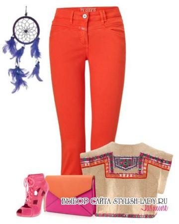 С чем носить оранжевые джинсы, фото