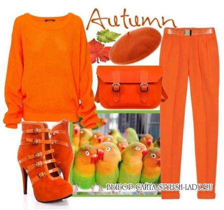 С чем носить оранжевые брюки, фото