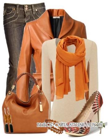С чем носить оранжевую куртку, фото