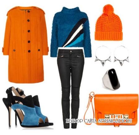 С чем носить оранжевое пальто, фото