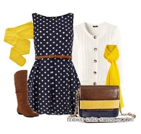 С чем носить желтые колготки и шарф, фото