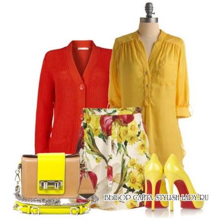 С чем носить желтую сумку, фото