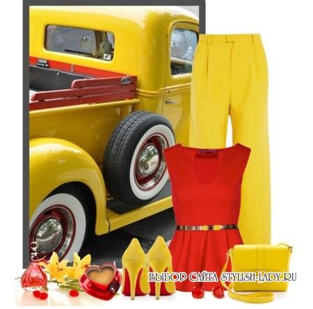 С чем носить желтые брюки, фото