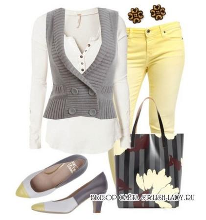 С чем носить желтые джинсы, фото