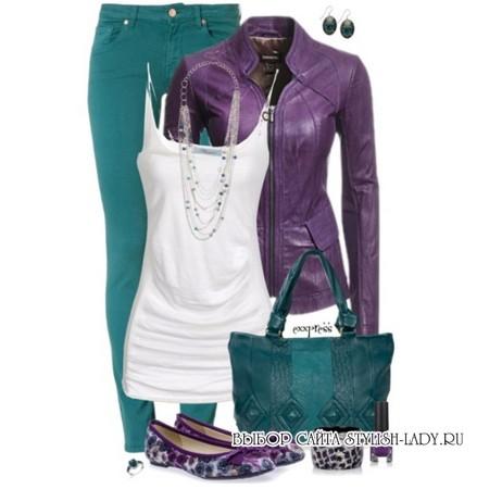 сочетание фиолетового с зеленым
