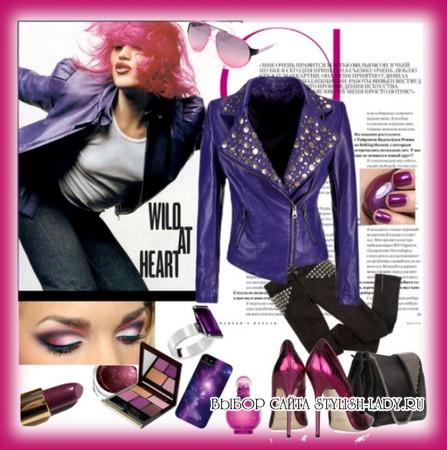 сочетание фиолетового с джинсами