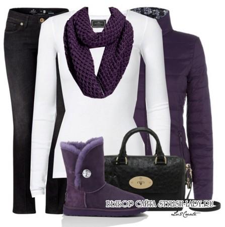 сочетание фиолетового с черным и белым
