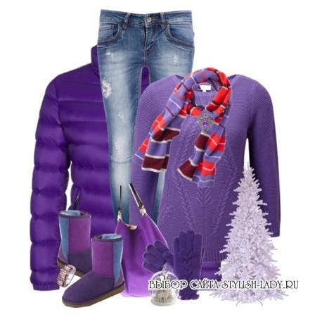 сочетание фиолетового с черным с ярким шарфом