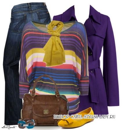сочетание фиолетового с другими яркими цветами
