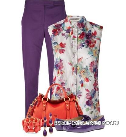 С чем носить фиолетовые балетки