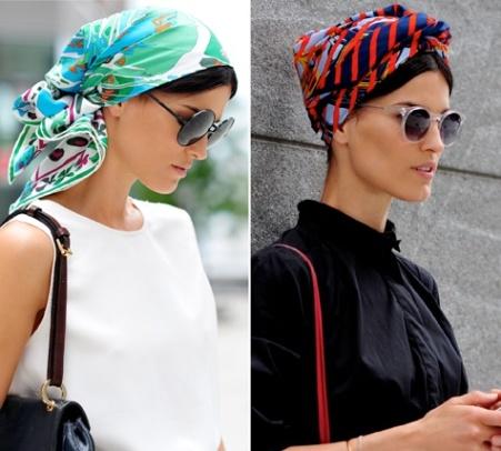 Как красиво завязывать шарф на голове, фото