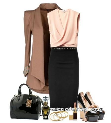 C чем носить черную юбку карандаш
