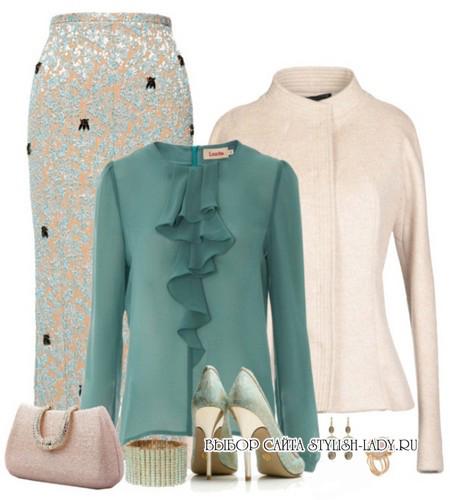 C чем носить зеленую юбку карандаш