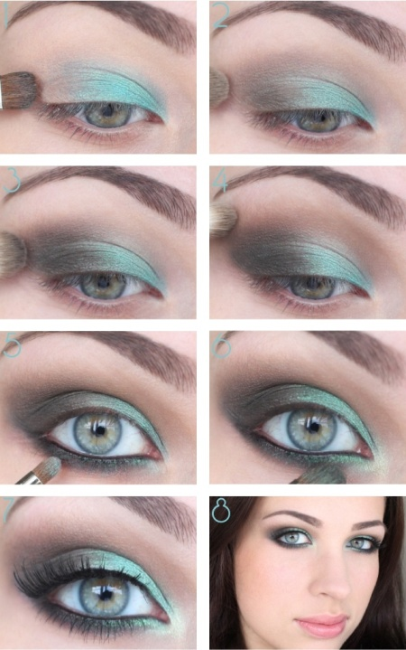 Макияж к белому платью для зеленых глаз